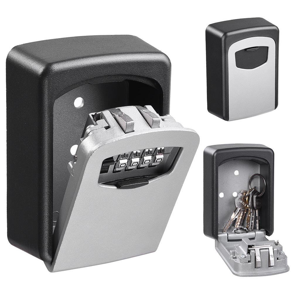 4 Digit Combination Key Lock Box Wall Mount Safe Security