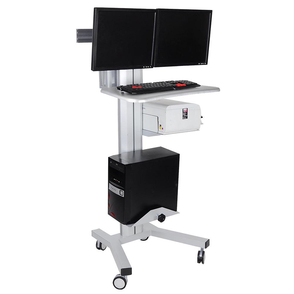 ergonomic workstation rolling mobile desktop pc computer cart w dual monitor ebay. Black Bedroom Furniture Sets. Home Design Ideas