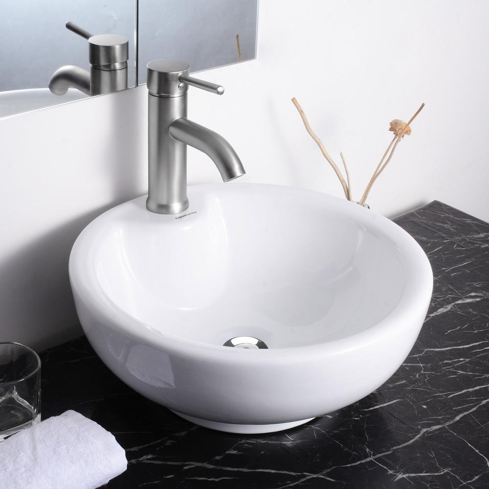 aquaterior porcelain ceramic bathroom vessel sink basin w overflow pop up drain ebay. Black Bedroom Furniture Sets. Home Design Ideas