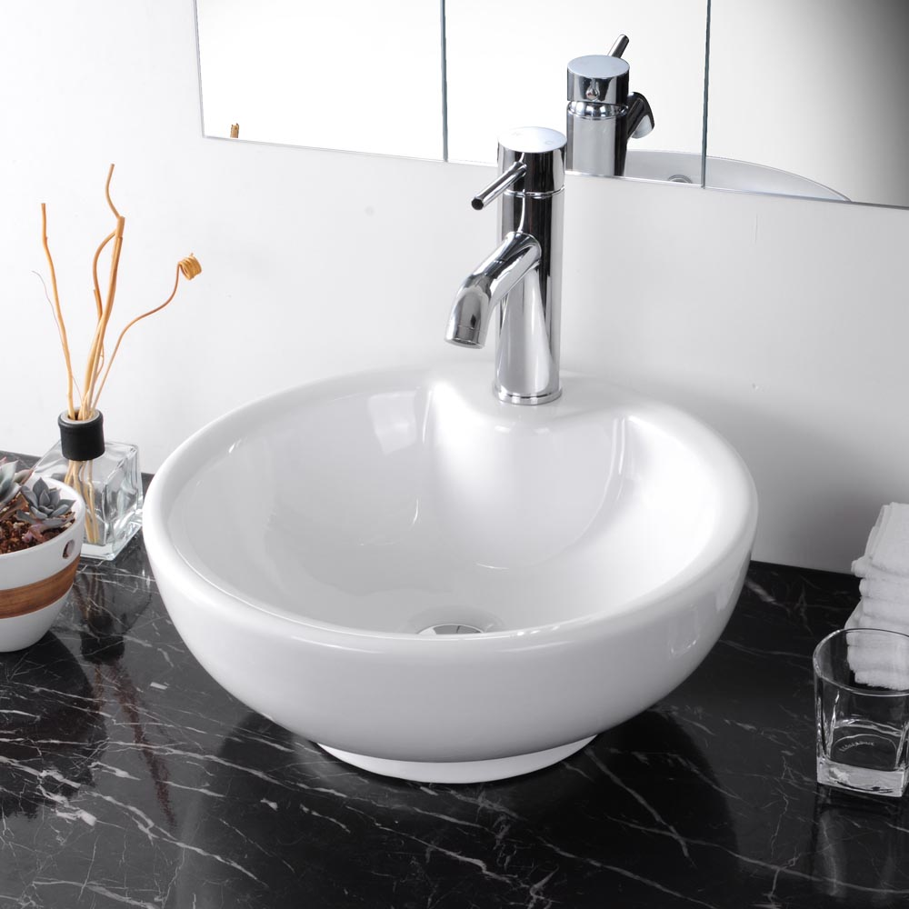 Bathroom Ceramic Porcelain Vessel Sink W Overflow White