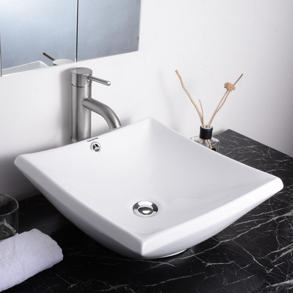 Etonnant Details About Aquaterior® Bathroom Porcelain Ceramic Vessel Sink Vanity  Basin Overflow U0026 Drain