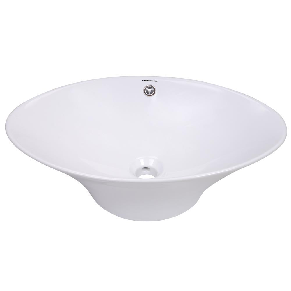Bathroom-Porcelain-Ceramic-Vessel-Sink-Vanity-Basin-Overflow-Pop-up-Drain-White thumbnail 5
