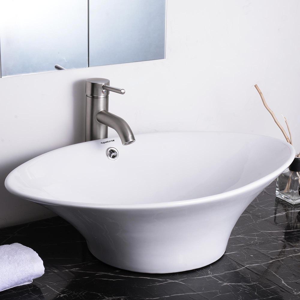 Aquaterior bathroom porcelain ceramic vessel sink vanity - Bathroom vanity with vessel sink sale ...