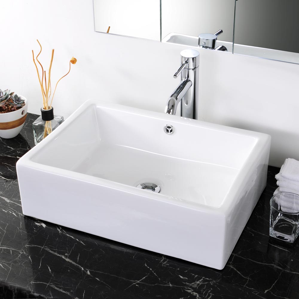 20-034-Rectangle-Bathroom-Vessel-Sink-Countertop-Porcelain-Basin-Pop-up-Drain-Kit thumbnail 16