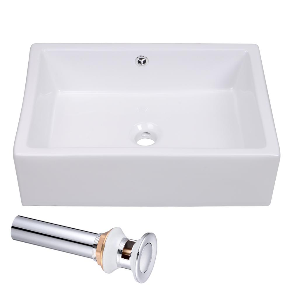 20-034-Rectangle-Bathroom-Vessel-Sink-Countertop-Porcelain-Basin-Pop-up-Drain-Kit thumbnail 19