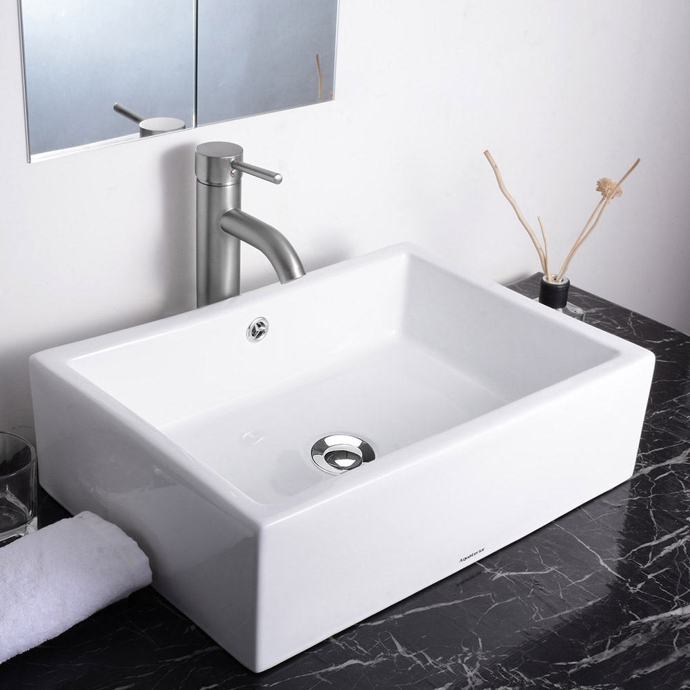 Aquaterior bathroom porcelain ceramic vessel sink vanity for Bath toilet and sink