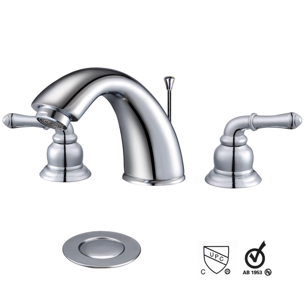 3 Holes Widespread Bathroom Vessel Sink Lavatory Faucet w/ Overflow ...