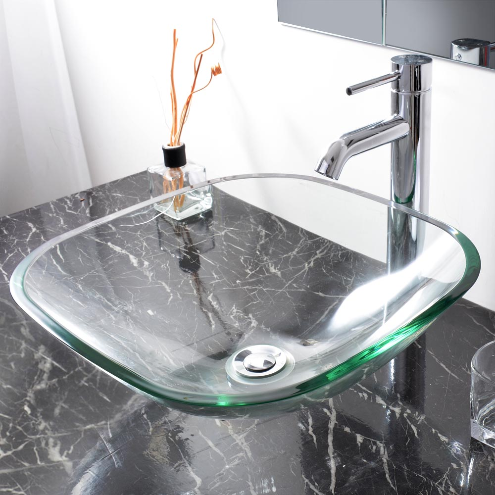 Bathroom Tempered Glass Vessel Sink Natural Clear Square 12 Faucet