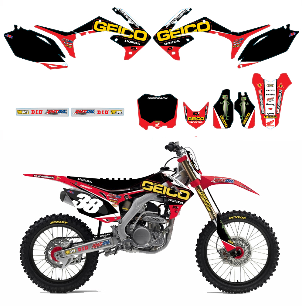 D'Cor Geico Honda Graphics & Black Plates Kit
