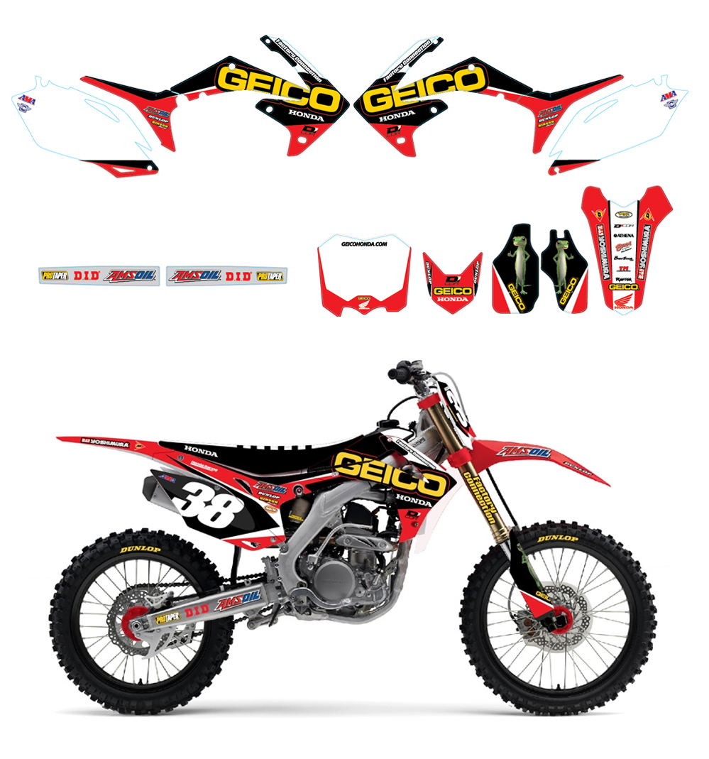 2016 D'Cor Geico Honda Graphics-Trim-White Plates Kit