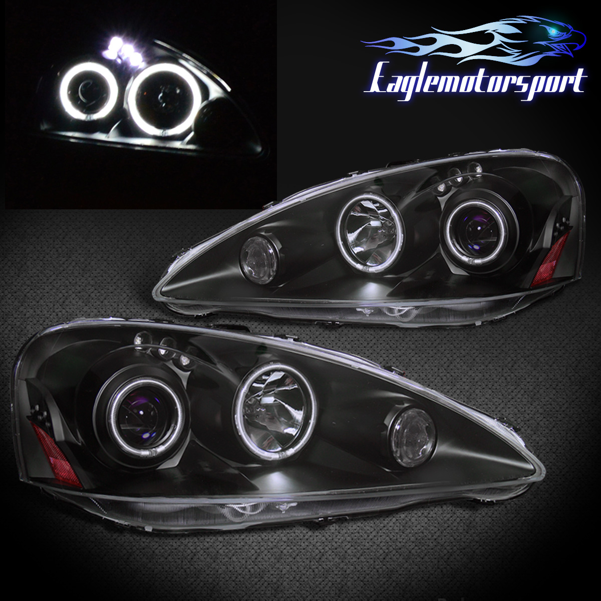 [Dual CCFL Halo] 2005 2006 Acura RSX LED Projector Black