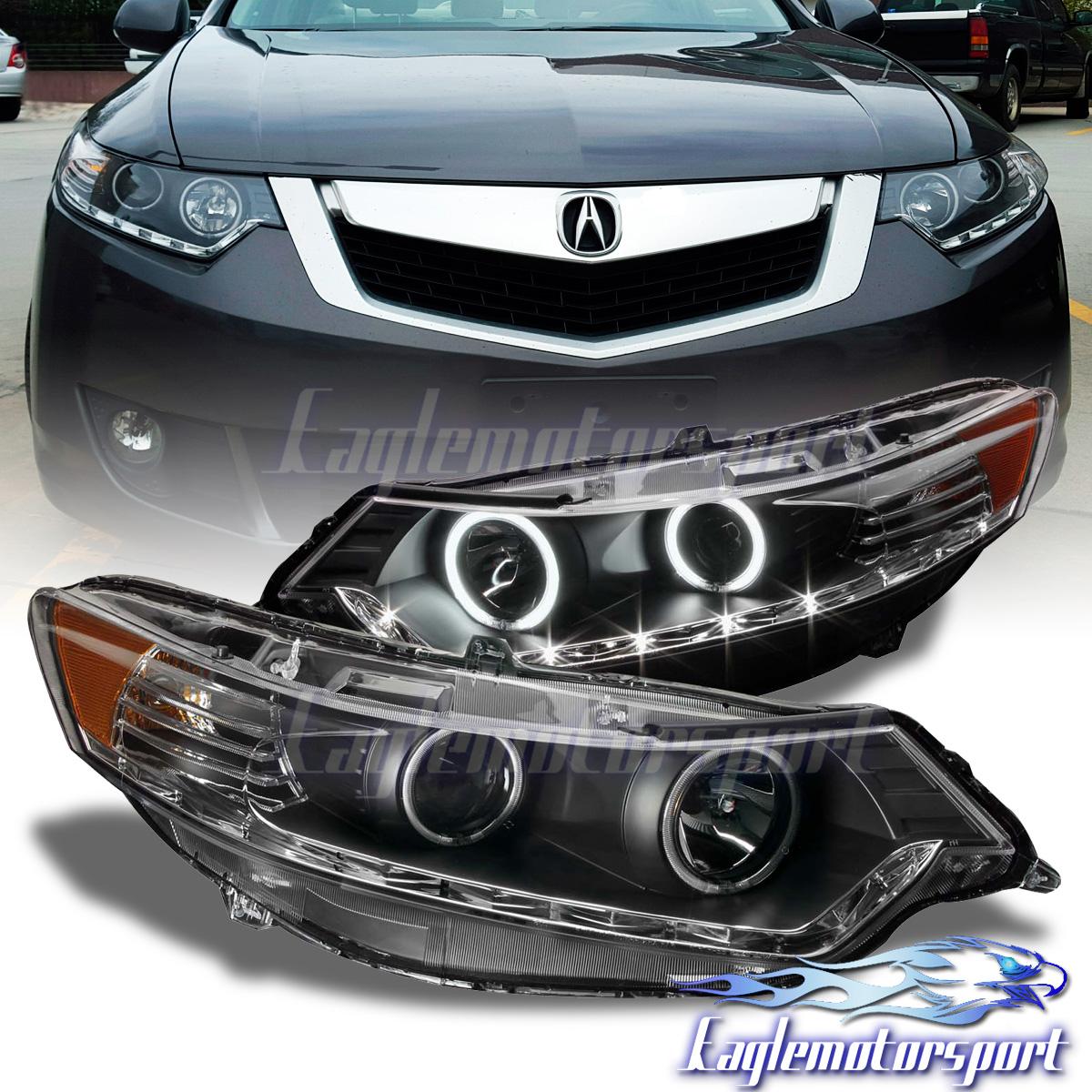 [CCFL Halo+LED DRL] 2009-2014 Acura TSX Black LED