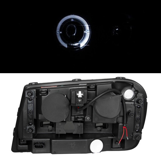 Set Black Fog Lamp Spot Light Fit Chevrolet Colorado: [Dual LED Halo] 2002-2009 Chevy Trailblazer Projector