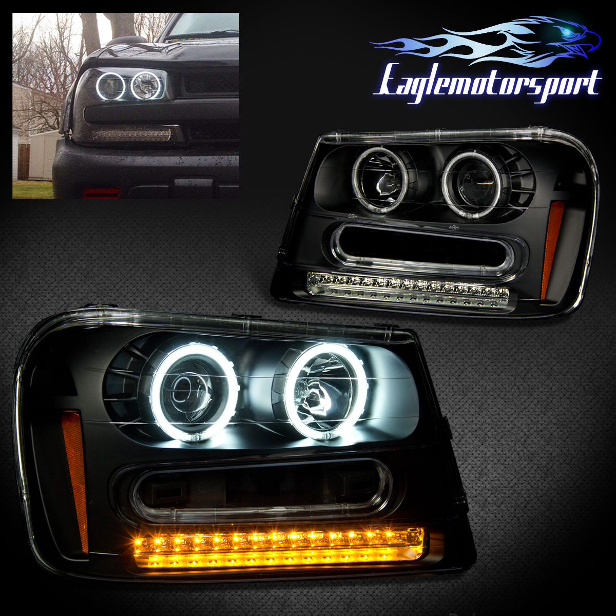 Dual Ccfl Halo 2002 2009 Chevy Trailblazer Blk Led