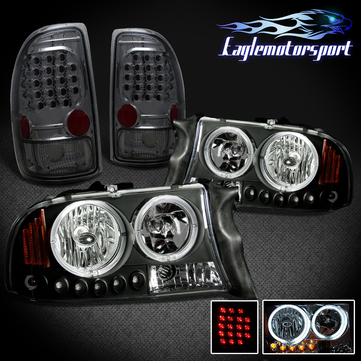 Ccfl Halo 1997 2004 Dodge Dakota Black Led Headlights Smoke Rear Brake Lights Wiring Diagram For 97 Dd97 Bc6a