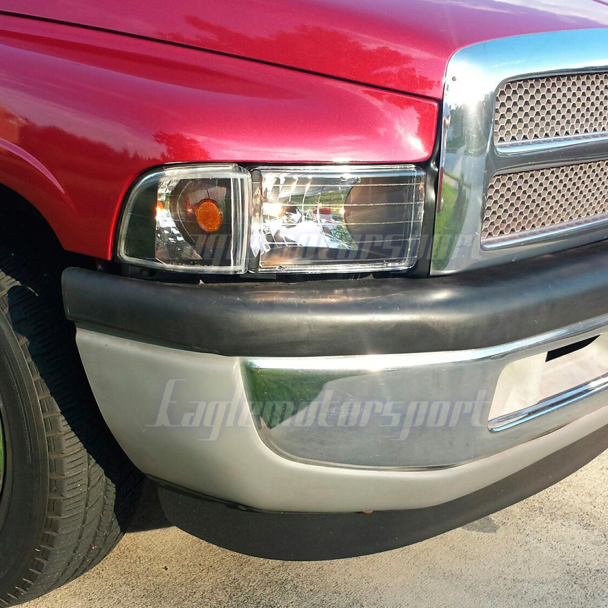 1994-2001 Dodge Ram 1500 2500 3500 Black Headlights+Corner