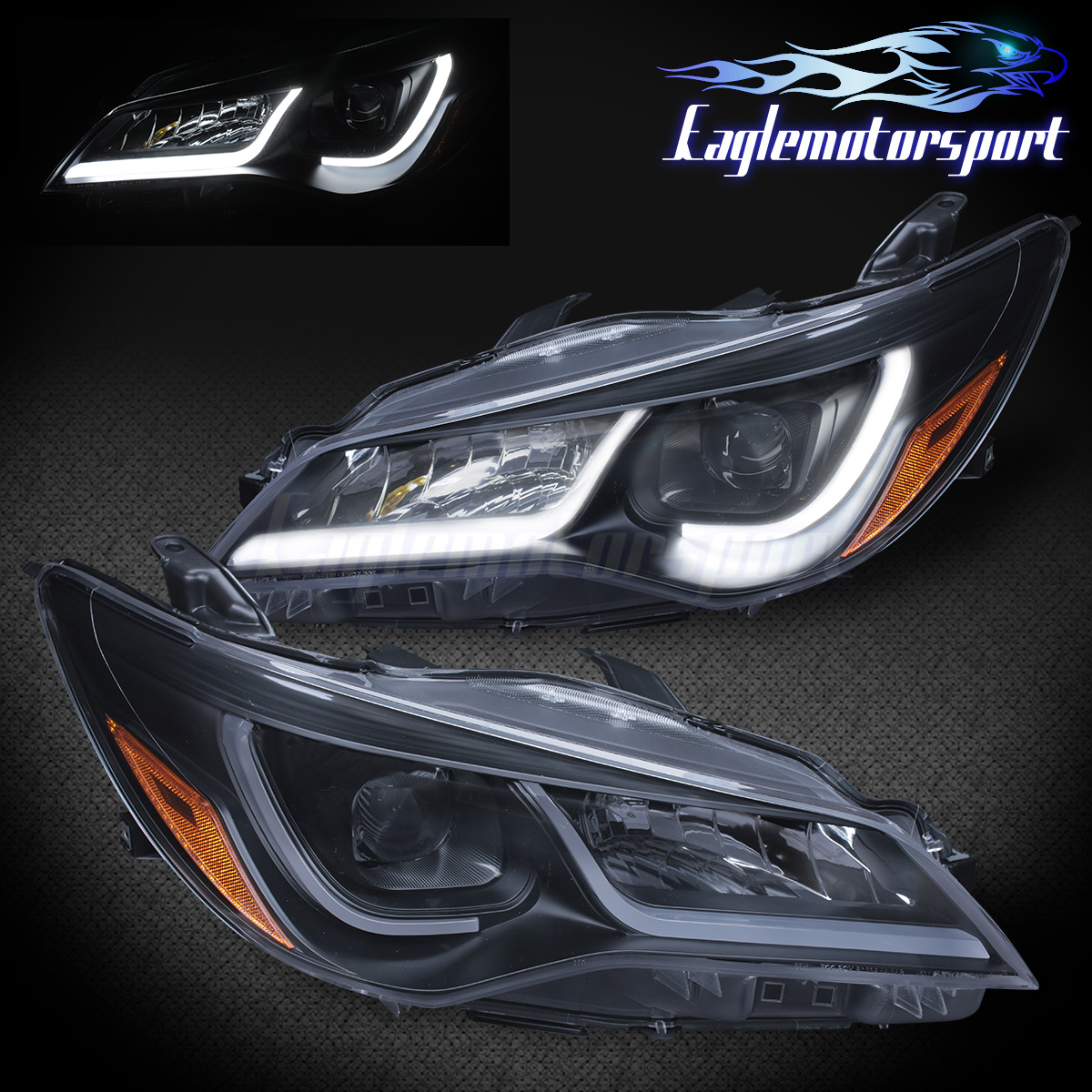 led tube bar 2015 2017 toyota camry plank style black projector headlights set. Black Bedroom Furniture Sets. Home Design Ideas