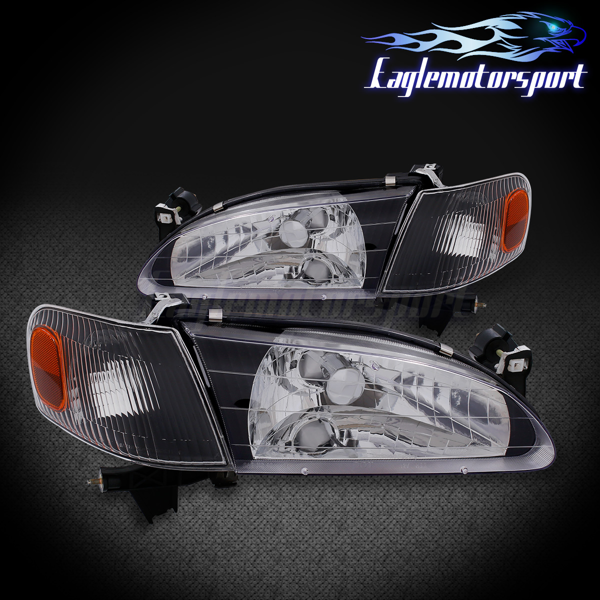 Details About For 1998 1999 2000 Toyota Corolla Black Factory Style Replacement Headlights