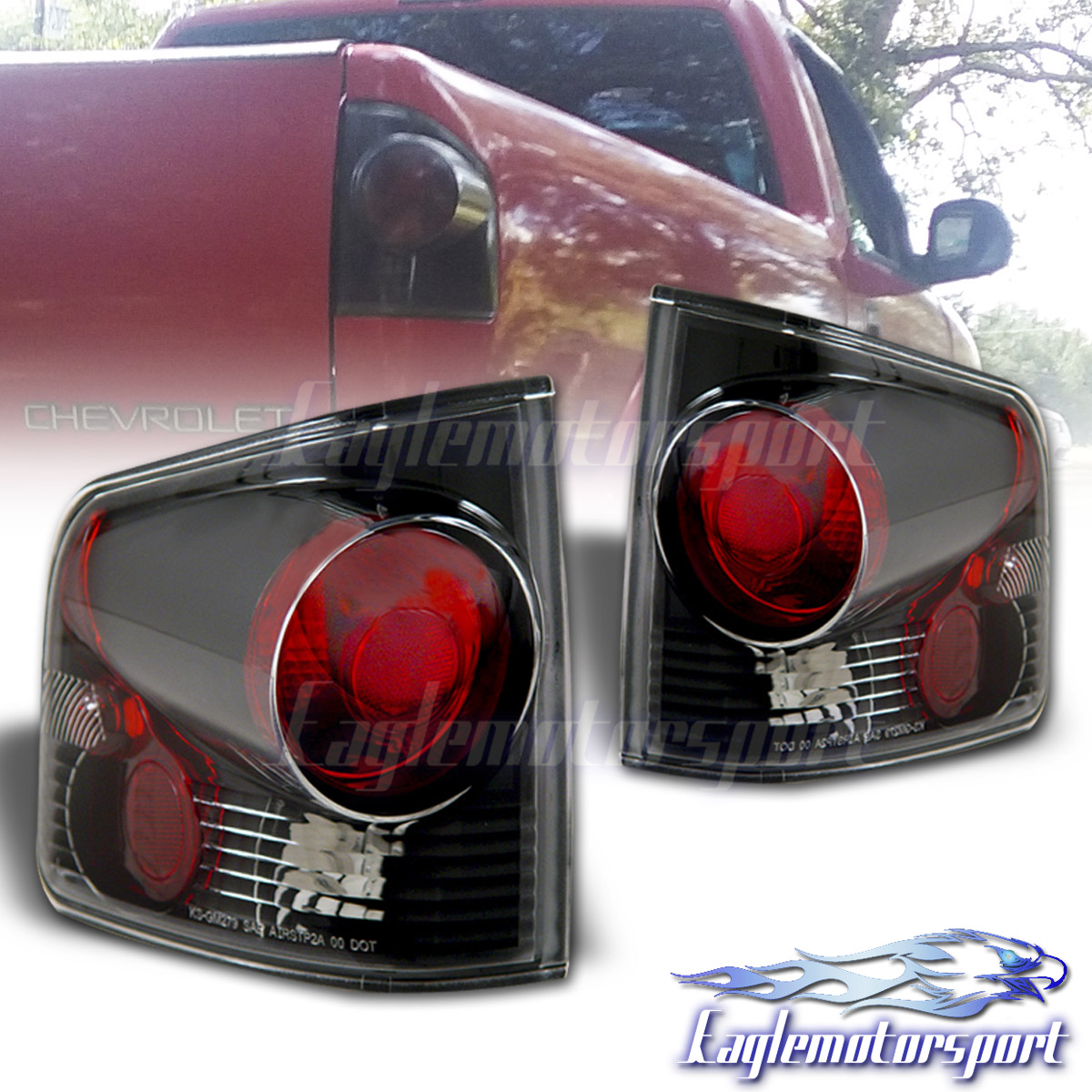 1994 Gmc Sonoma Black Rear Brake Tail Lights Pair