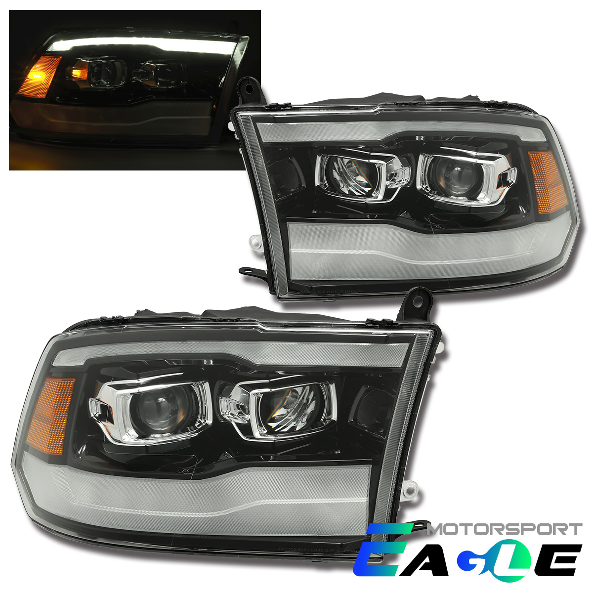 2019 Style Led Drl Projector Headlights For 2009 2018 Dodge Ram 1500 2500 3500 Ebay