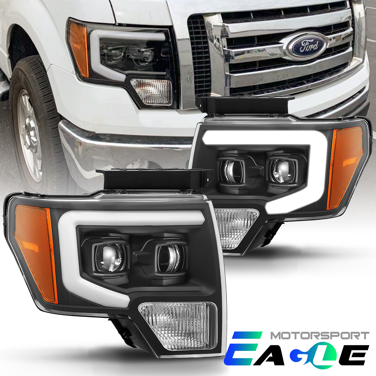 Details about [LED Tube Bar] 2009-2014 Ford F-150 Truck Black Projector  Headlights Head Lamps