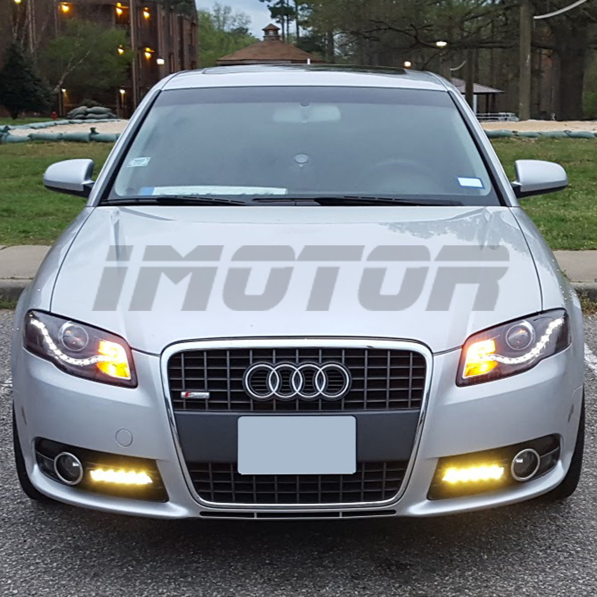 r8 style led drl 2005 2008 audi a4 s4 rs4 wagon projector black headlights set ebay. Black Bedroom Furniture Sets. Home Design Ideas