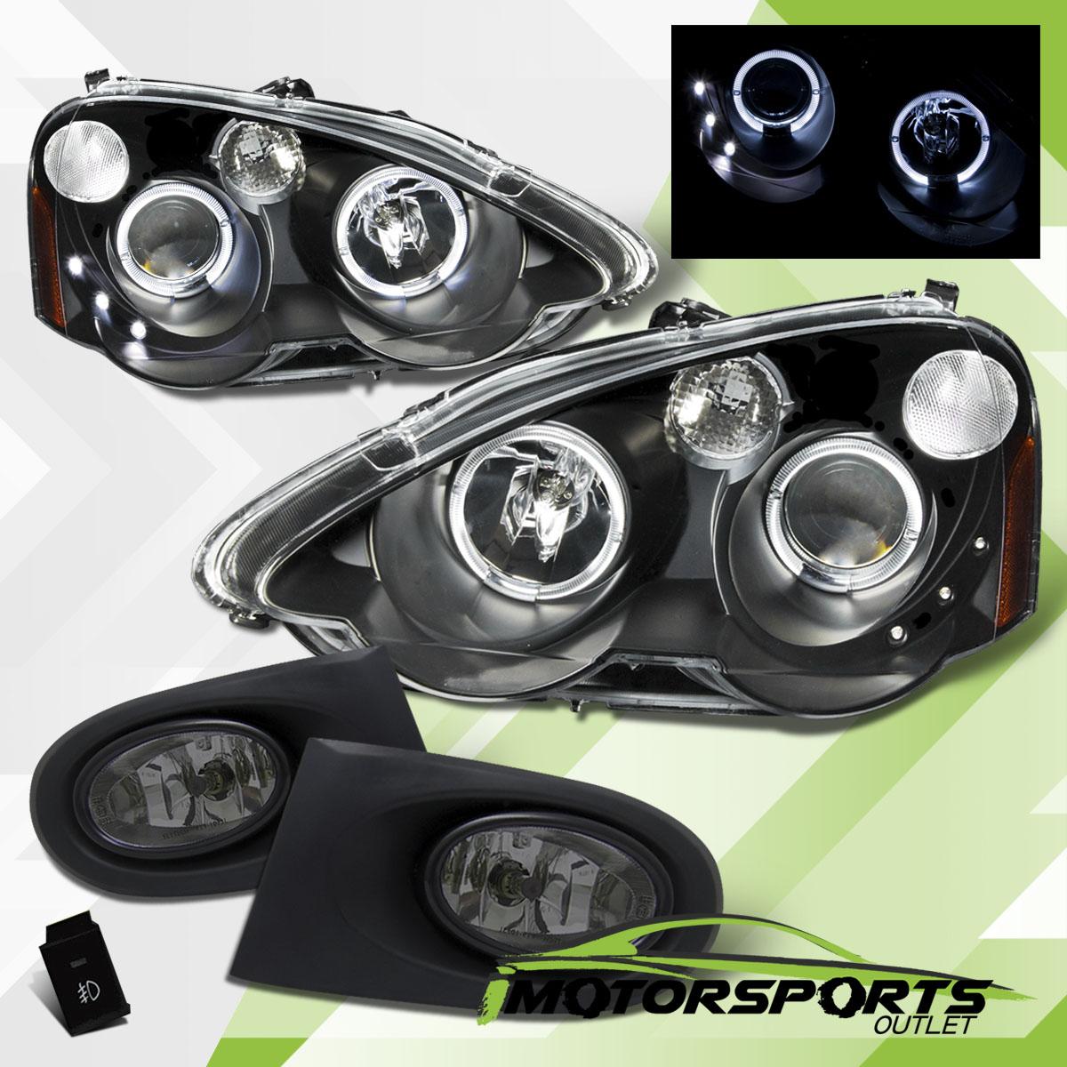 [LED Halo] 2002-2004 Acura RSX Black Projector Headlights