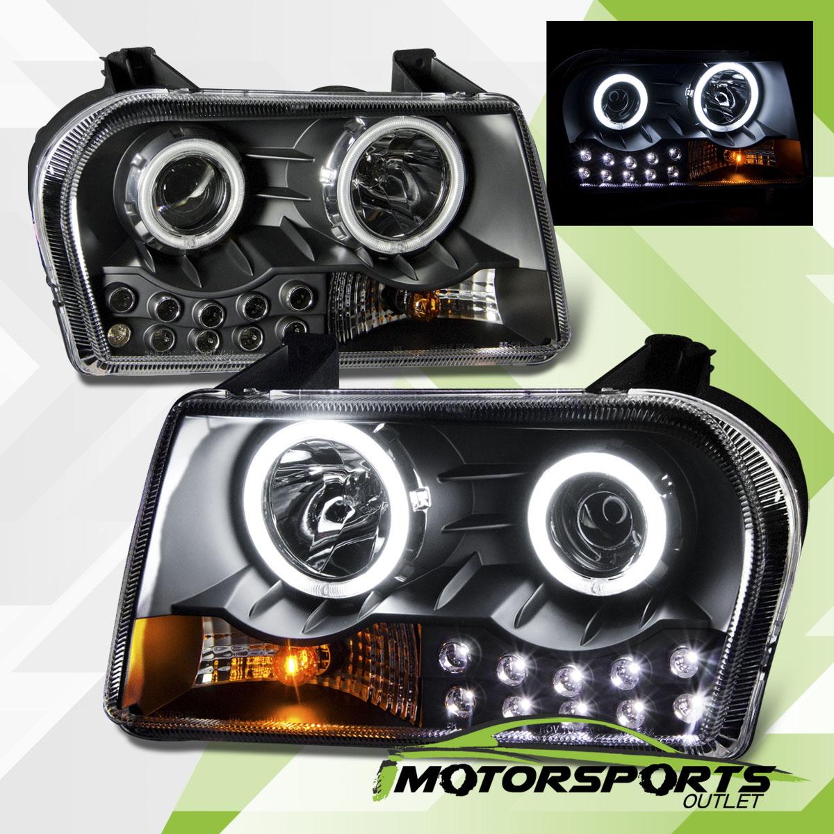 2005 2006 2007 Chrysler 300c Srt8 Clear Black Headlights: [Dual CCFL Halo] 2005-2010 Chrysler 300 Black LED
