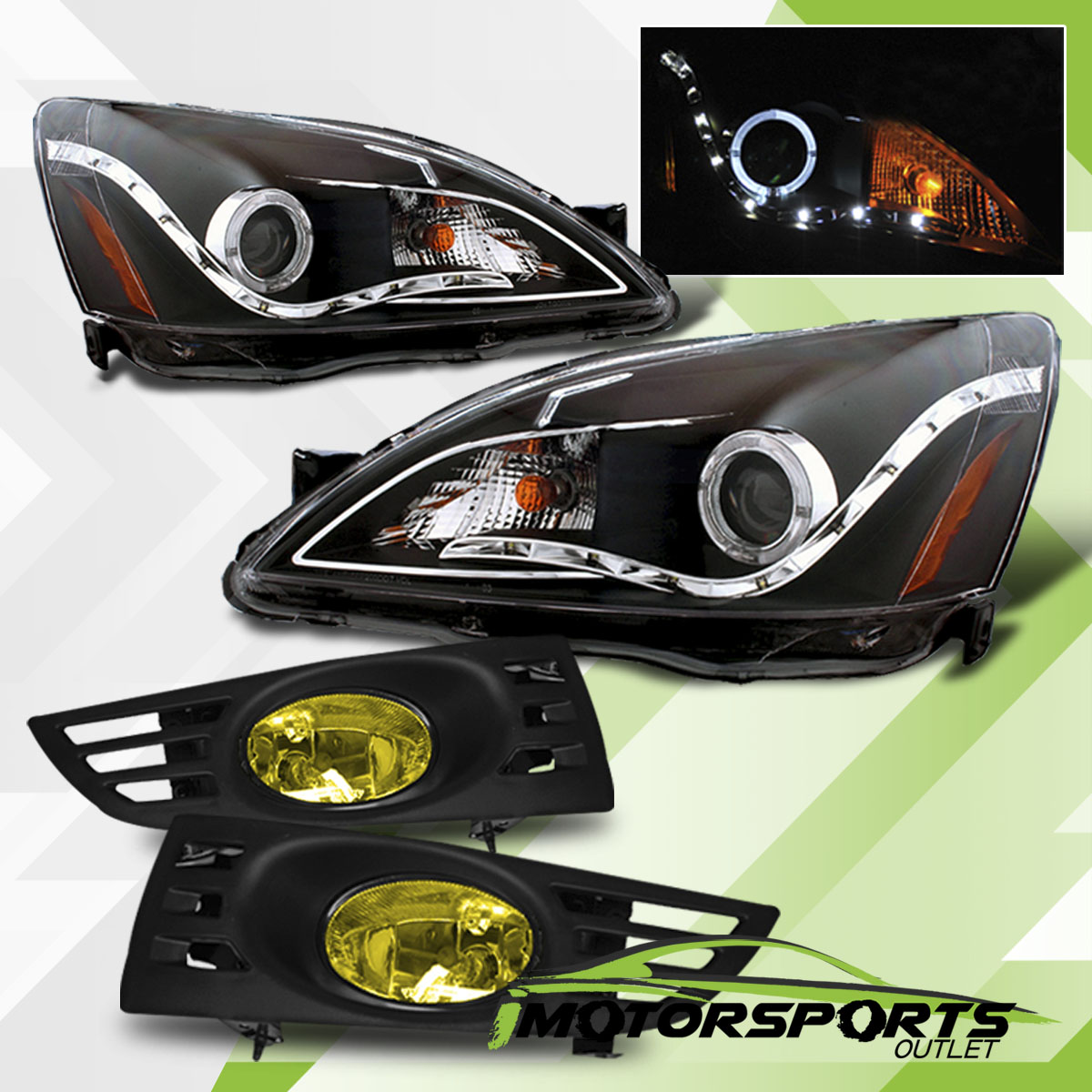 Led Halofor 2003 2005 Honda Accord 2dr Black Projector Headlights Tail Light 2004 Coupe Only