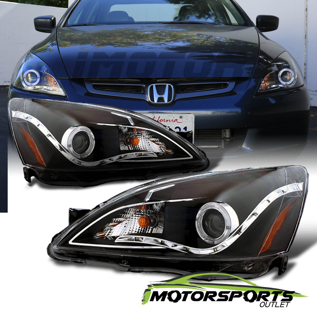 Captivating For 2003 2004 2005 2006 2007 Honda Accord Black LED Halo Projector  Headlights | EBay