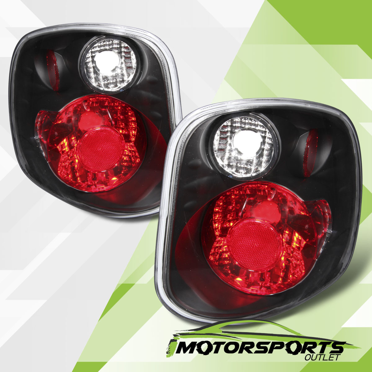 2001 2002 2003 ford f 150 flareside black rear brake tail lights pair. Black Bedroom Furniture Sets. Home Design Ideas