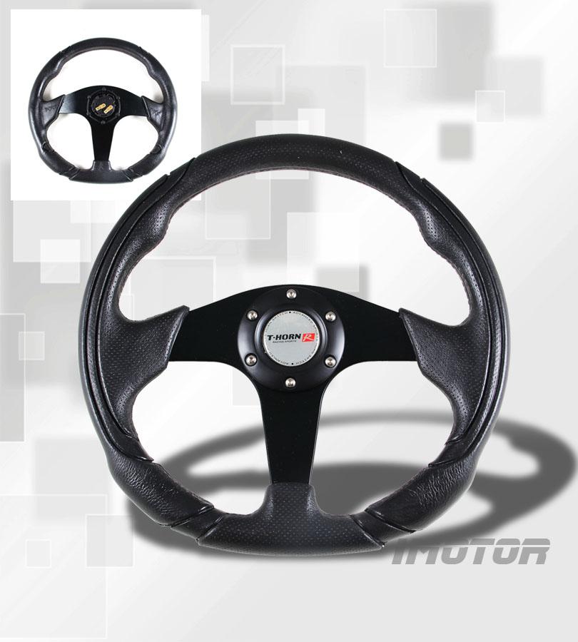 350mm Universal PVC Leather Black Jet Sport JDM Racing Steering Wheel