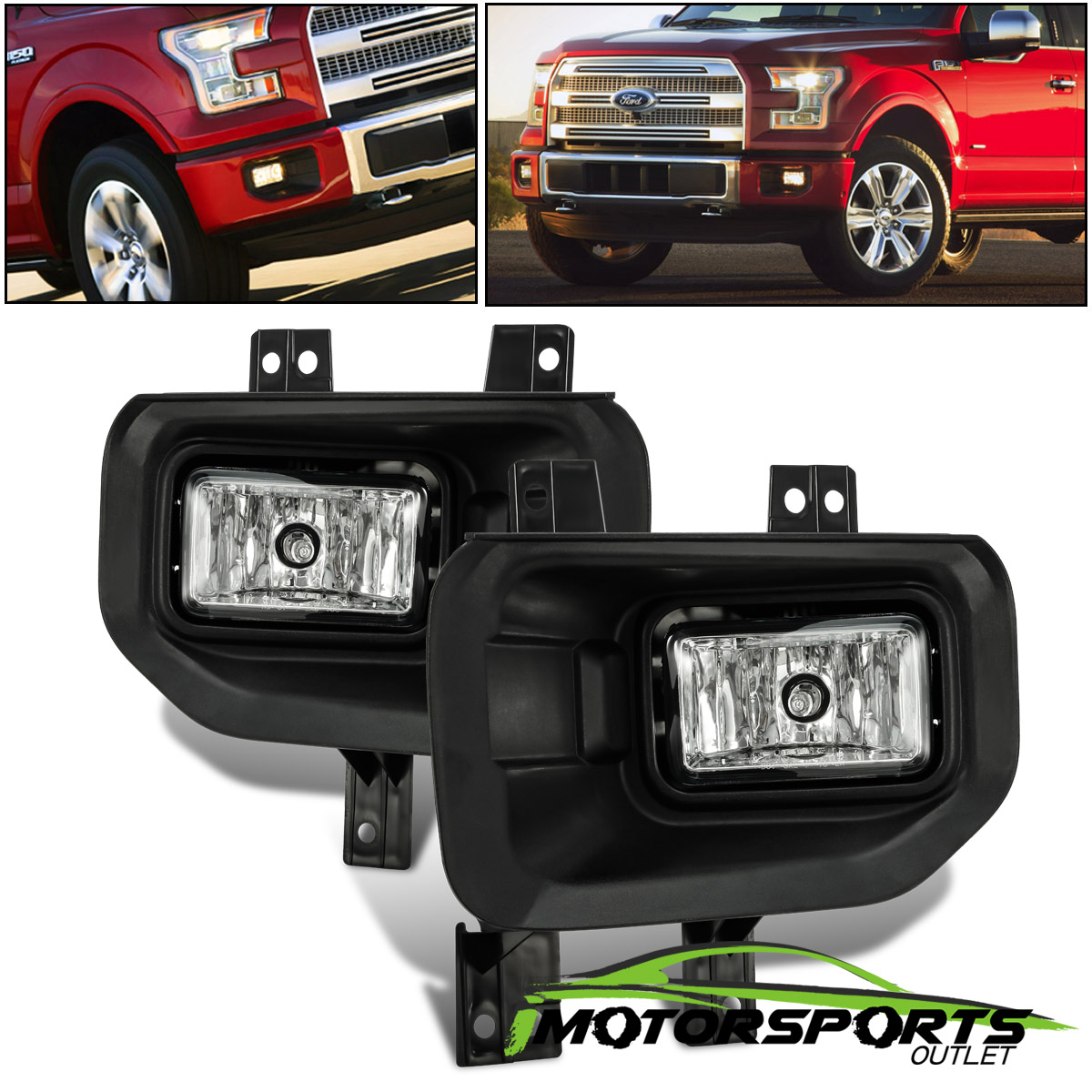 New Set of 2 Fog Light Brackets Lamps Driver /& Passenger Side F150 Truck Pair