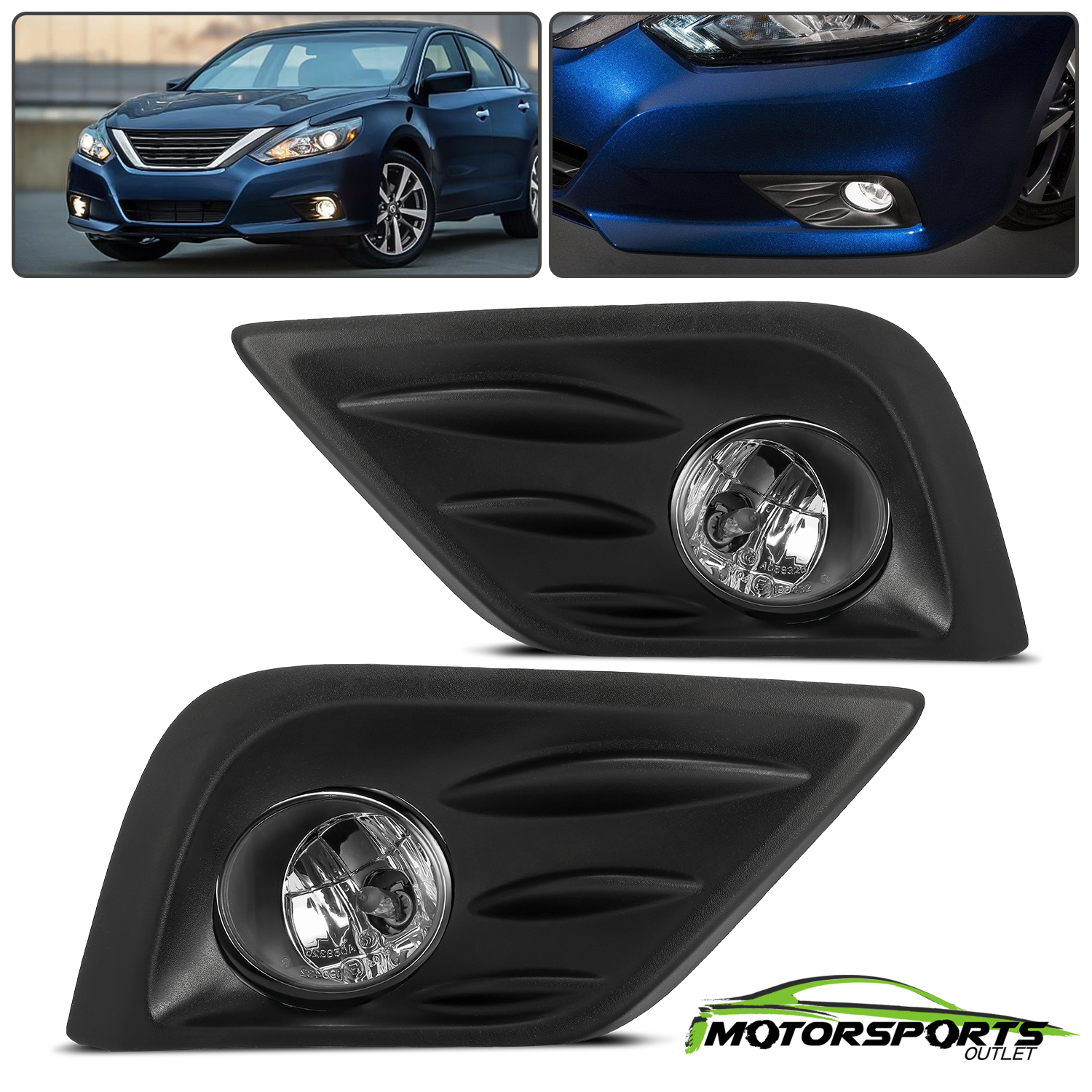 Details about For 2016 2017 Nissan Altima Bumper Fog Lights Pair+Switch+Bulbs+Wiring on