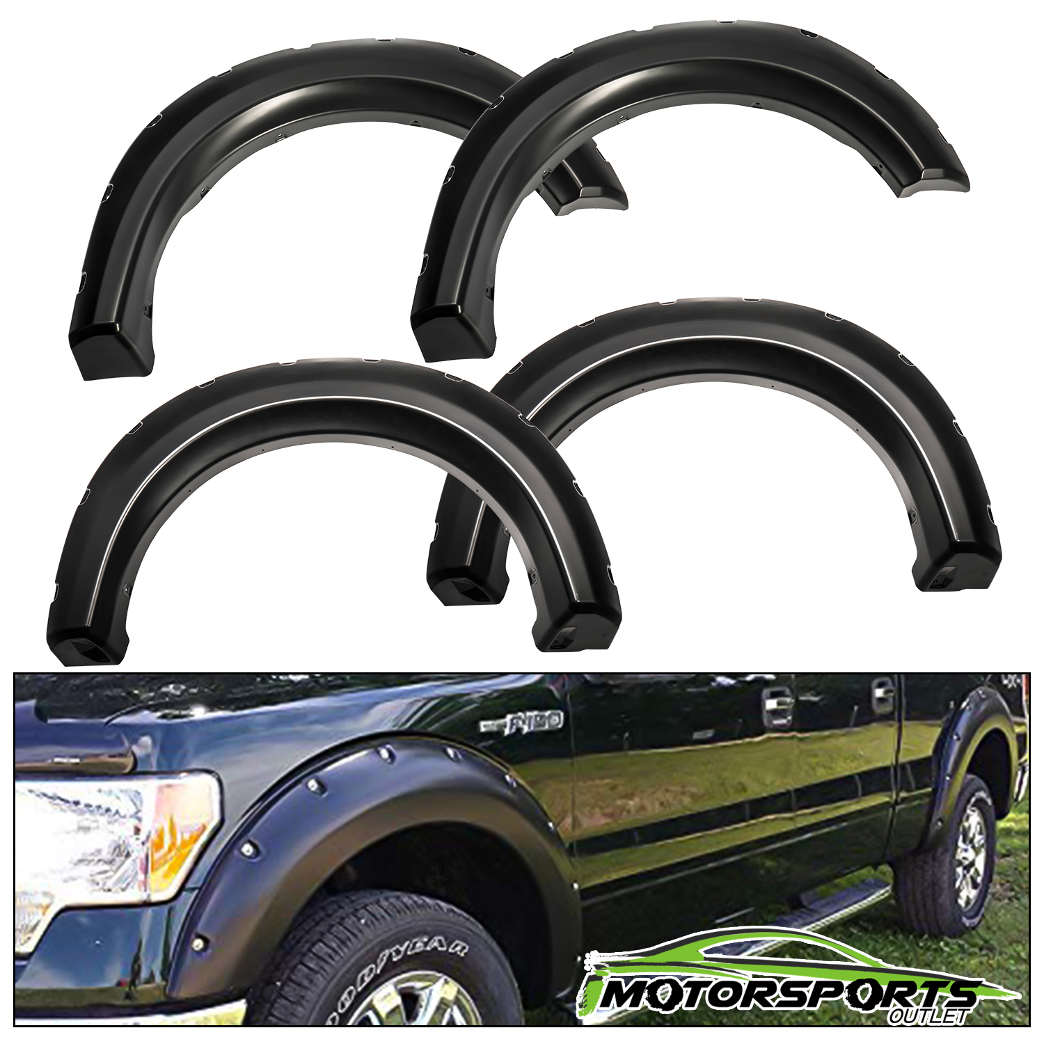 FENDER FLARES 4 Piece Set Matte Black For FORD F-150 2009-2014