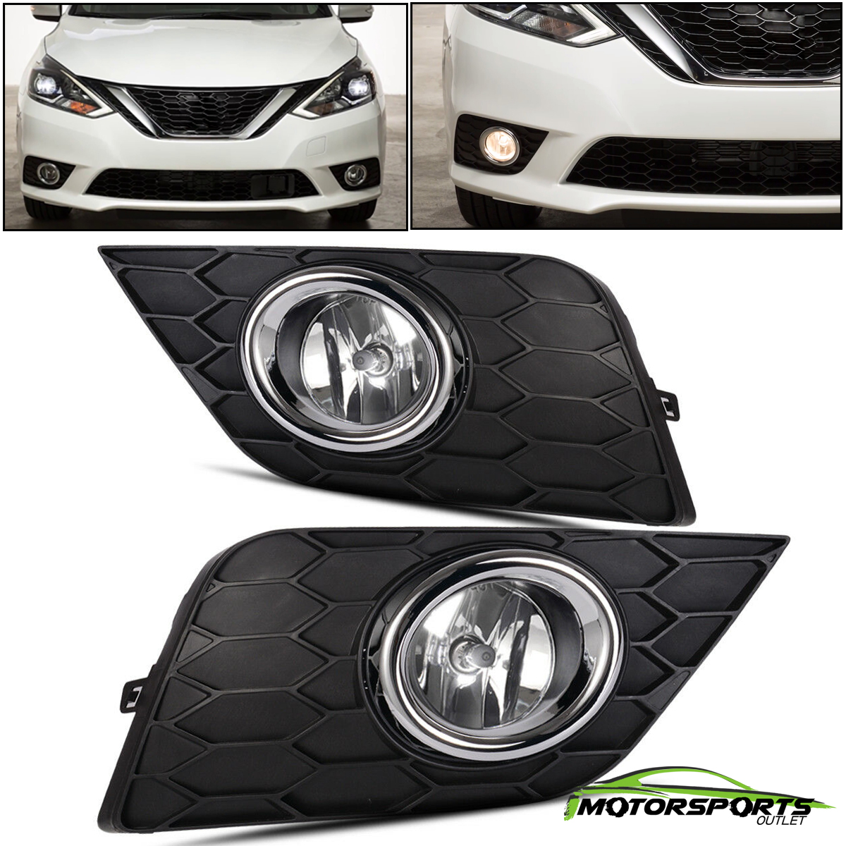 Details about For 2016 2017 Nissan Sylphy/Sentra Bumper Fog Lights+Switch+Bulbs+Wiring on