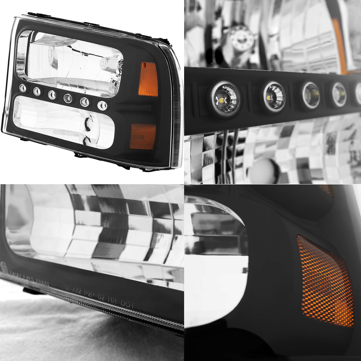led drl 1999 2004 ford f250 f350 superduty excursion black headlights pair