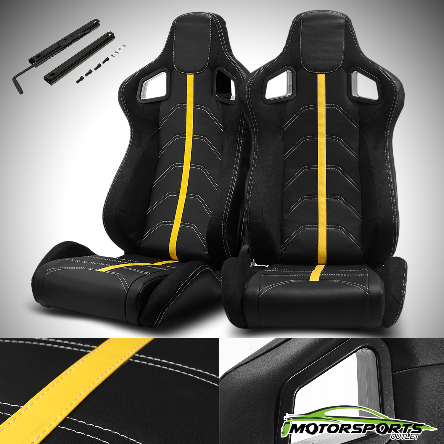 Reclinable Black PVC Scede Blue Line Racing Bucket Seats w//Sliders Left+Right