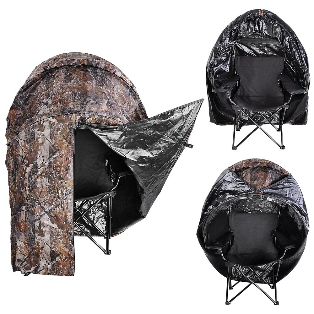 Portable-Hunting-Ground-Blind-Tent-Real-Tree-Camo-Hunt-Archery-Turkey-Deer-Duck thumbnail 31
