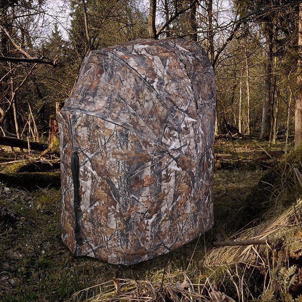 Portable-Hunting-Ground-Blind-Tent-Real-Tree-Camo-Hunt-Archery-Turkey-Deer-Duck thumbnail 35