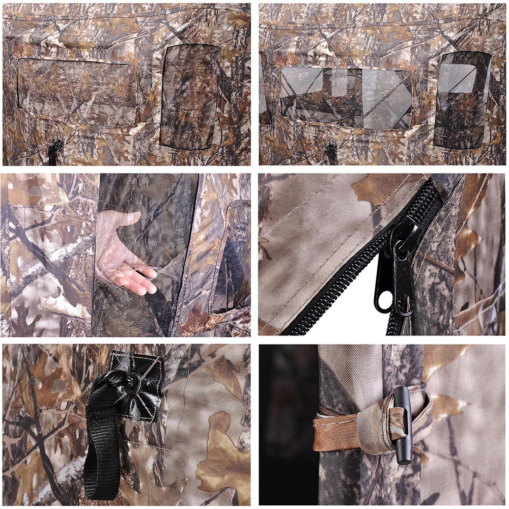 Portable-Hunting-Ground-Blind-Tent-Real-Tree-Camo-Hunt-Archery-Turkey-Deer-Duck thumbnail 24