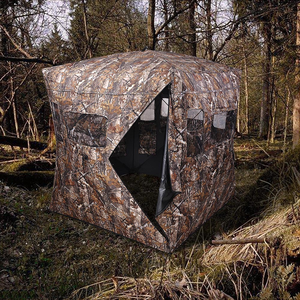 Portable-Hunting-Ground-Blind-Tent-Real-Tree-Camo-Hunt-Archery-Turkey-Deer-Duck thumbnail 26