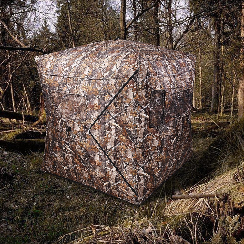 Portable-Hunting-Ground-Blind-Tent-Real-Tree-Camo-Hunt-Archery-Turkey-Deer-Duck thumbnail 27