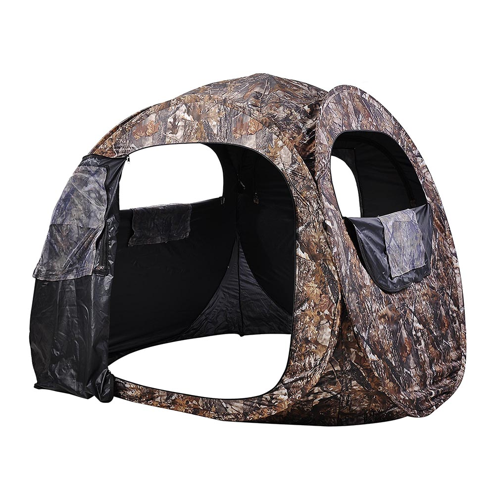Portable-Hunting-Ground-Blind-Tent-Real-Tree-Camo-Hunt-Archery-Turkey-Deer-Duck thumbnail 11