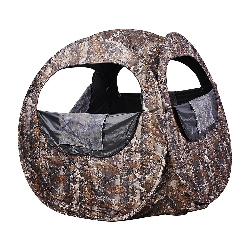 Portable-Hunting-Ground-Blind-Tent-Real-Tree-Camo-Hunt-Archery-Turkey-Deer-Duck thumbnail 13