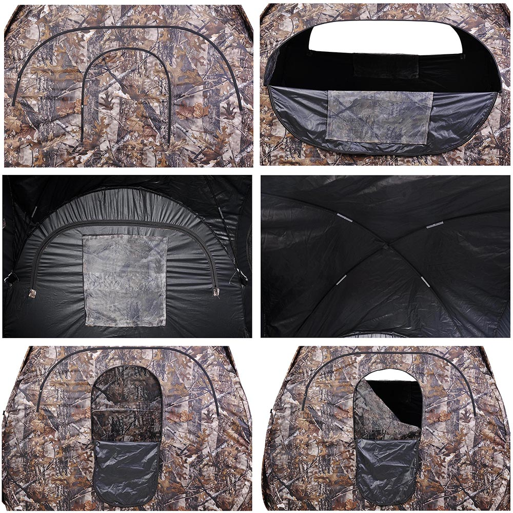 Portable-Hunting-Ground-Blind-Tent-Real-Tree-Camo-Hunt-Archery-Turkey-Deer-Duck thumbnail 15