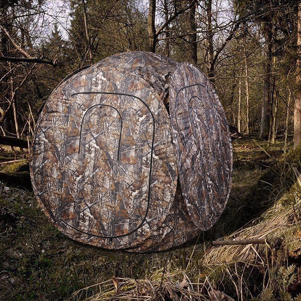 Portable-Hunting-Ground-Blind-Tent-Real-Tree-Camo-Hunt-Archery-Turkey-Deer-Duck thumbnail 17