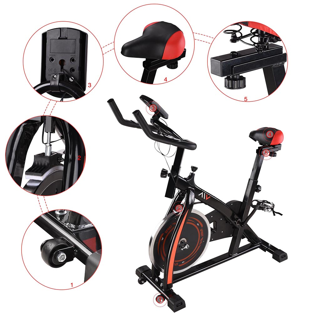 Exercise-Bike-Fitness-Gym-Indoor-Cycling-Stationary-Bicycle-Cardio-Workout-Home thumbnail 5