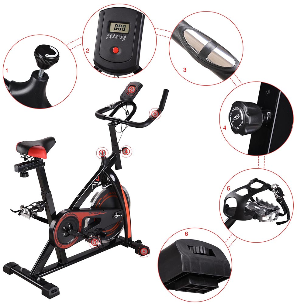 Exercise-Bike-Fitness-Gym-Indoor-Cycling-Stationary-Bicycle-Cardio-Workout-Home thumbnail 6