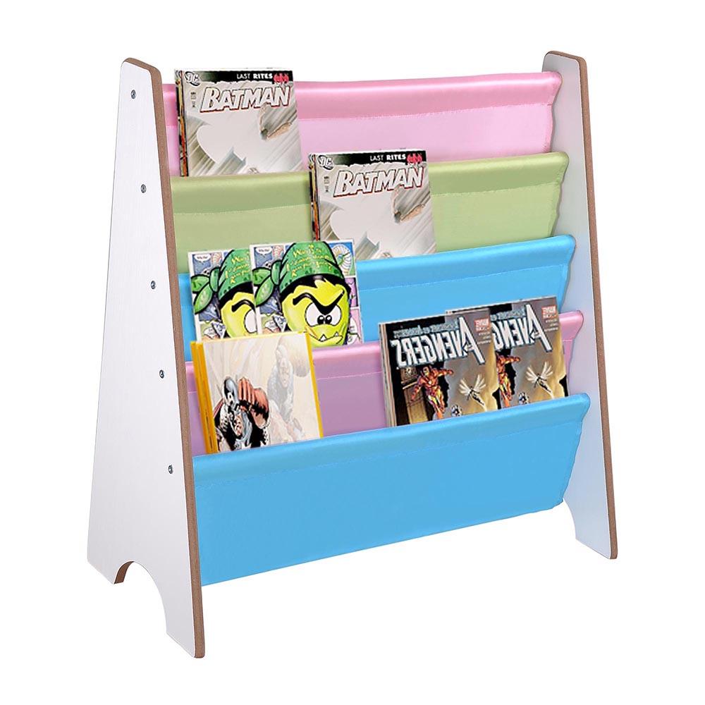 wood kids book shelf sling storage rack organizer bookcase. Black Bedroom Furniture Sets. Home Design Ideas